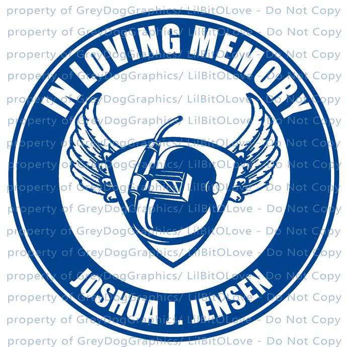 In Memory with Welding Hood Welder Weld Vinyl Decal Sticker - Personalize with