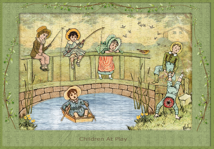 Children at Play Digital Collage Greeting Card2288