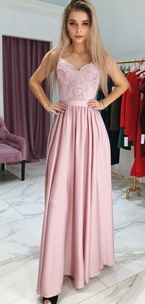 A-Line Sweetheart Spaghetti Straps Sleeveless Side Slit Long Prom Dresses With