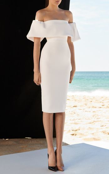 White Off Shoulder Mesh Bandage Dress