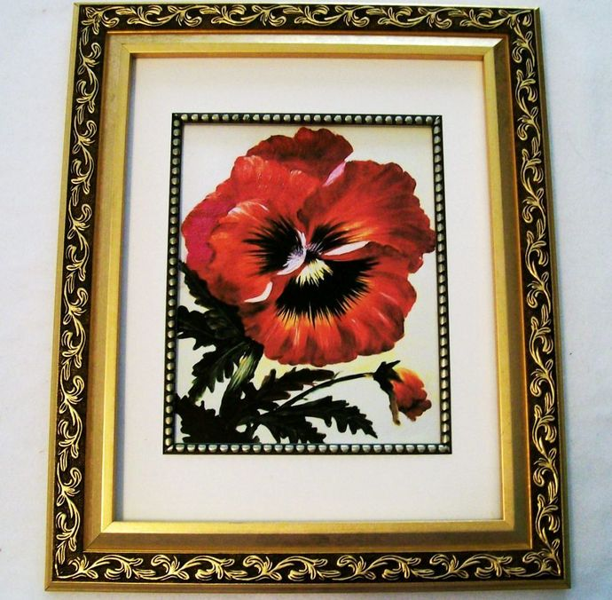 "Oil Painting Print, 8.5x11"", ""Red Pansy"", Giclée Floral Painting Print, Flower"