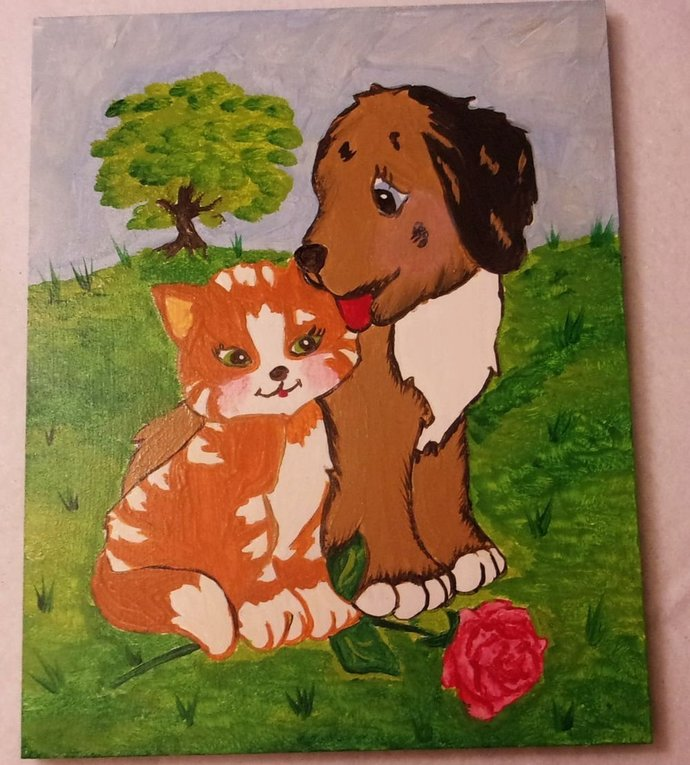 Puppy Love Oil Painting for Kids, Kids Wall Hanging, 8x10 Wood Plaque, kids