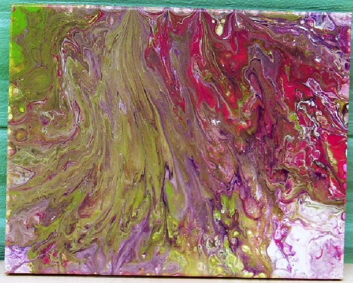 Acrylic Pour Painting, 11x14 Dirty Pour Painting, Mauve White and Greens,