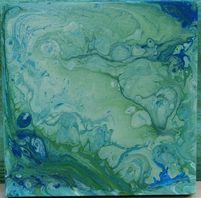 Acrylic Pour Painting, 5.25x5.25 Painting, Abstract Painting, Painted in the