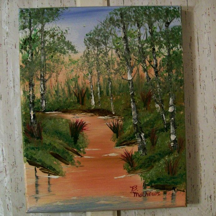 "Landscape Oil Painting, 8x10 Painting, ""Peachy River"", Original Painting,"