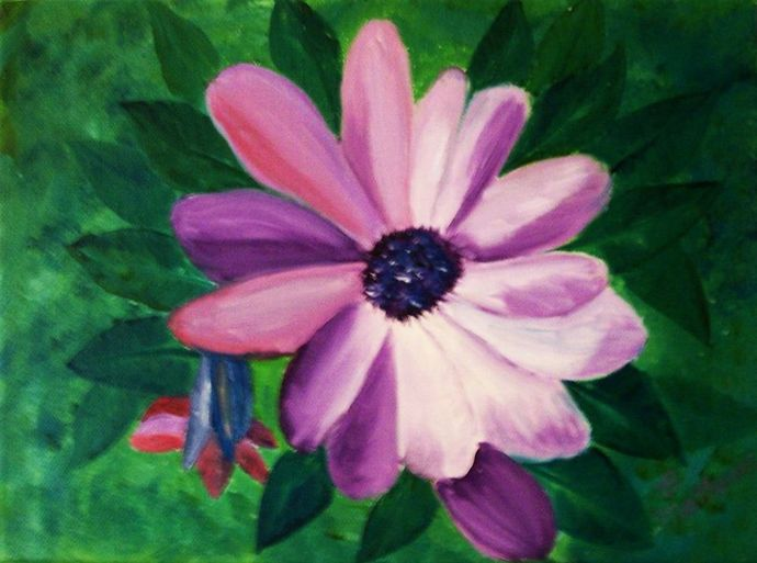 "Oil Painting, Originsl Oil Painting, Floral Painting, 9x12 Painting, ""A Purple"