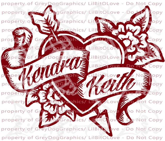 Custom Personalized Tattoo Heart Vinyl Decal with Names Sticker Couples