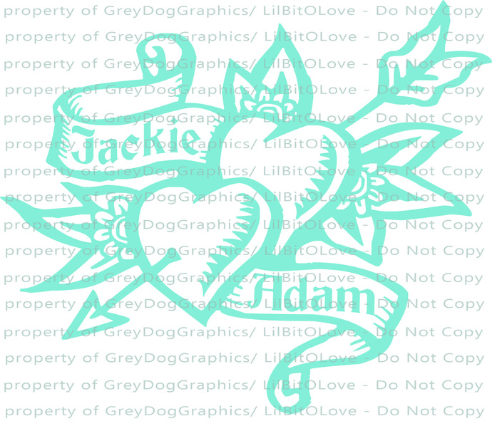 Custom Personalized Double Heart Tattoo Vinyl Decal with Names Sticker Couples