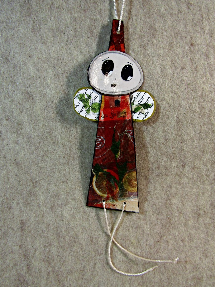 Small Handmade Angel, Ornament, Gift, Original One-of-a-Kind  Paper/ Art