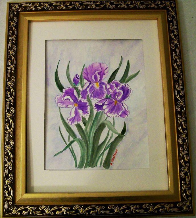 "Watercolor Floral, Painting Original, ""Lavender Iris"", 9x12 Watercolor, Still"