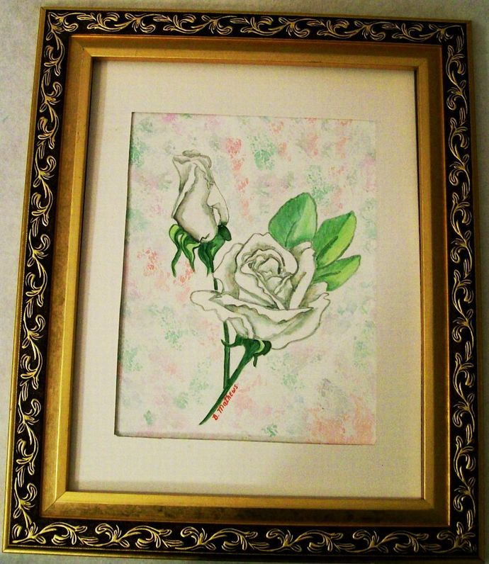"""Watercolor Rose, Floral Painting, Original, """"White Rose"""", 9x12 Painting, Still"""