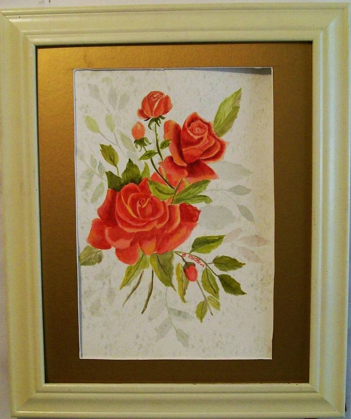 oses and Buds Watercolor Painting,Original Watercolor, Red Rose Painting, 12x18