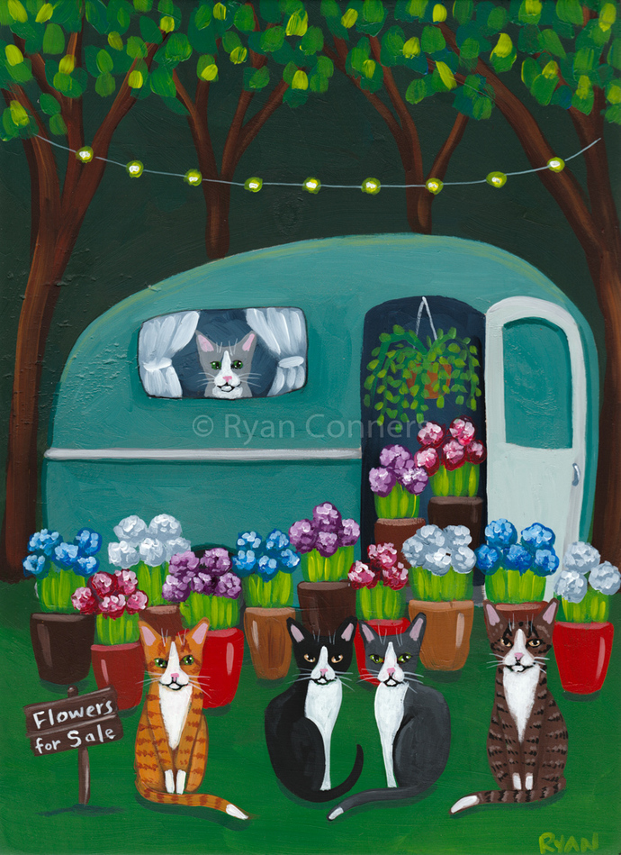 Roadside Flowers for Sale Original Cat Folk Art Painting