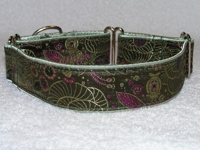 Emerald Green Silk Brocade Dog Collar