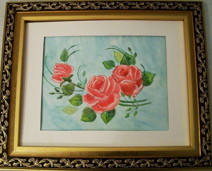 """Watercolor Floral, Painting Original, """"2 Roses an a Bud"""", 9x12 Flower Watercolor"""