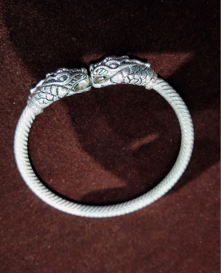 Animal Head Solid Silver Bracelet cuff - Hand crafted - 92.5 Silver high