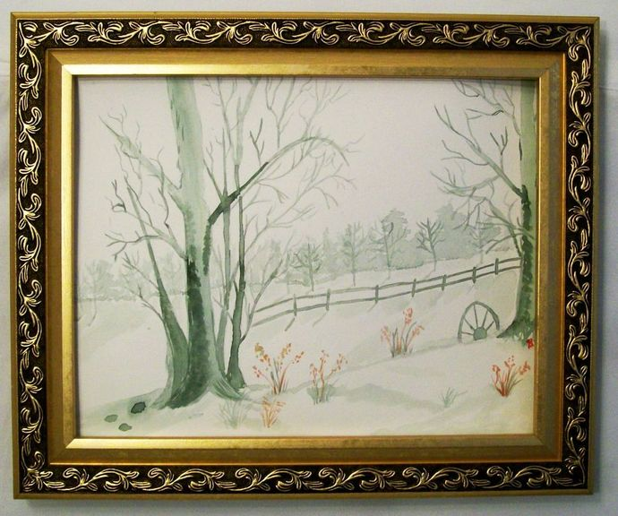 "Watercolor Painting, Landscape Watercolor Painting, ""A Grey Winter Day"", 11x15"