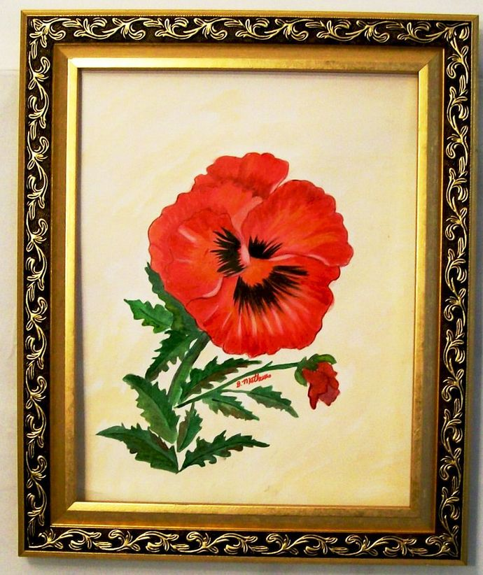 """Watercolor Painting, Original Painting, Floral """"A Single Pansy"""", 11x15"""