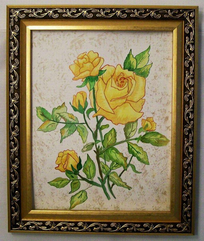 "Original Watercolor Painting, Flower Watercolor Painting, ""Yellow Rose"", 11x15"