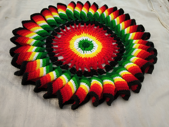Hand knitted crochet rainbow doily - gift - multi color round Handmade wool