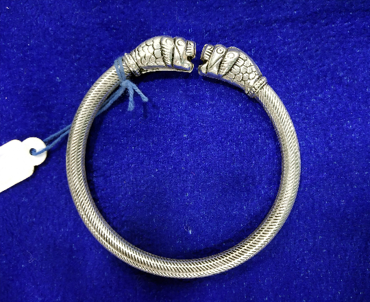 Animal head Silver Bracelet cuff - Hand crafted - 92.5 Silver + oxidized silver