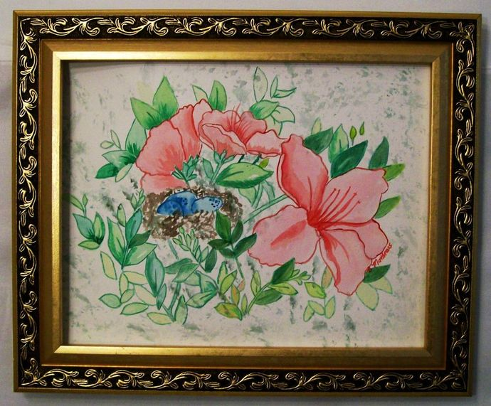 """Original Watercolor Painting, Flower Watercolor Painting, """"A Nest of Eggs"""","""