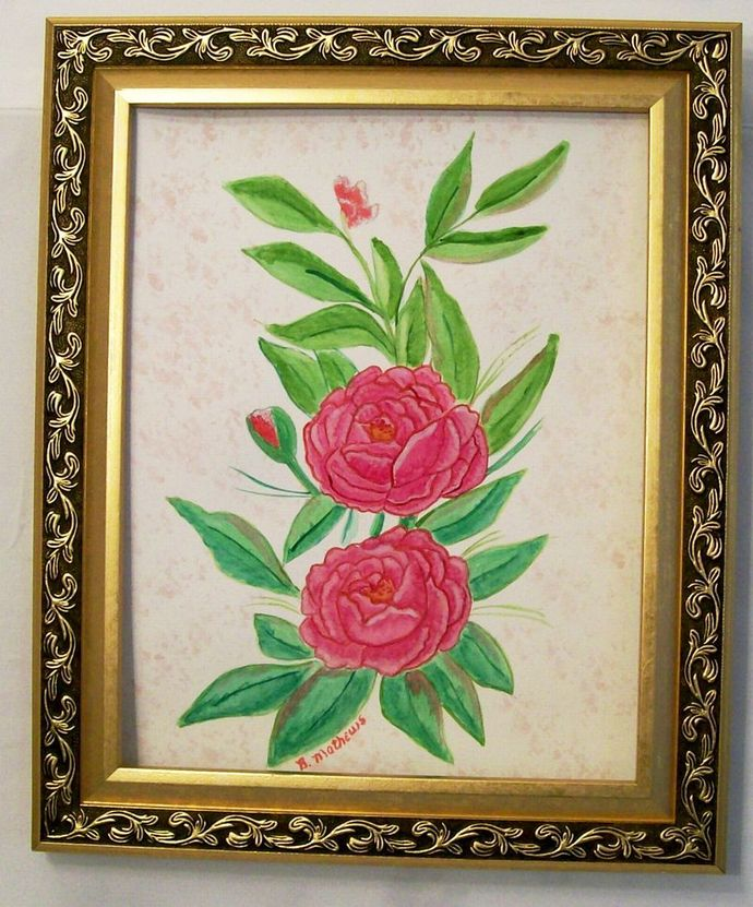 "Watercolor Painting, Original, Flower Watercolor Painting, ""Pink Camelias"","