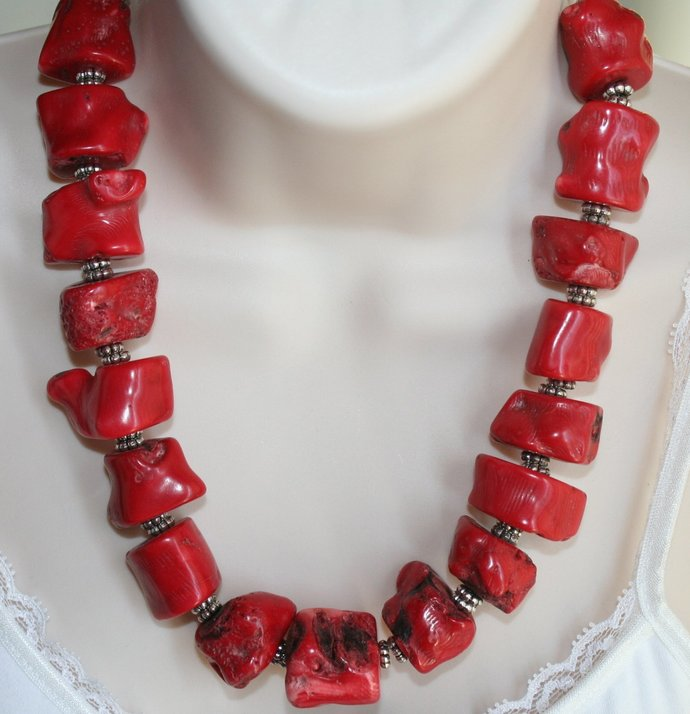 Chunky Raw Red Bamboo Coral Statement Necklace, Ethnic Tribal Raw Necklace,