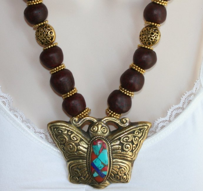 African Red Swirl Recycled Glass Statement Necklace, Inlaid Repousse Butterfly