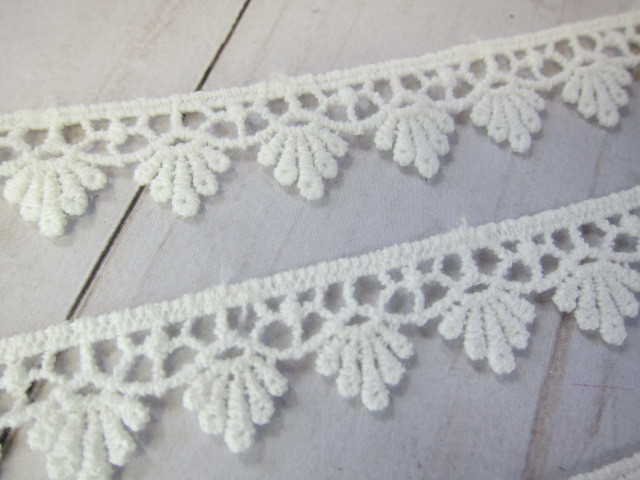 Lace Cotton Embroidered Patchwork Applique Edge Trim - 5/8 inch Off White