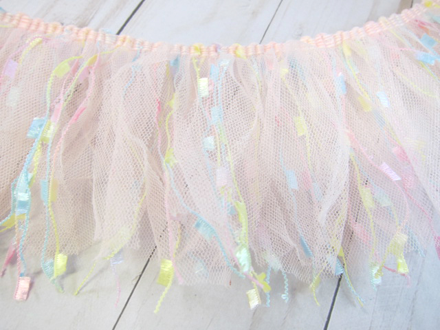 Lace Dangle Tussle Fringe  Shabby Chic Tulle Trim - 4 inch White, Pink Pastel