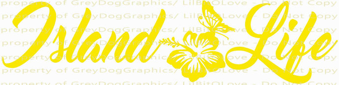 Island Life Vinyl Decal with Hibiscus and Butterfly Sticker Beach Island Ocean