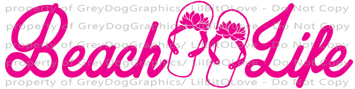 Beach Life Vinyl Decal with Flip Flops Sticker Beach Island Ocean Sea Bay