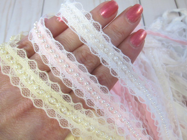 Lace Beaded Layered Edge Satin Ribbon Trim - 5/8 inch White, Ivory, Baby Pink