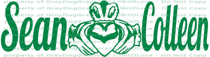 Custom Personalized Claddagh with Names Couples decal sticker Irish