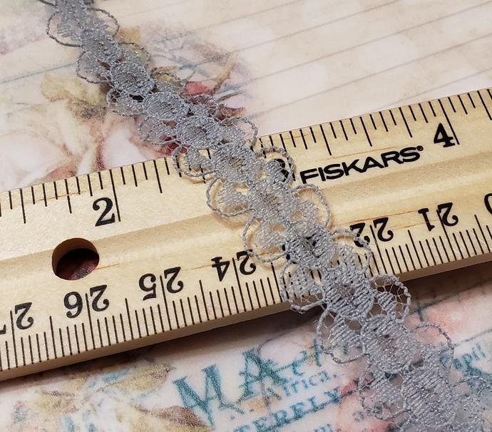 Gray lace trim 1 yd