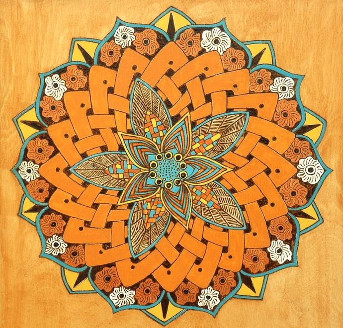 Wood Wall Decor, Kaleidoscope, Mandala Art, Wall Hanging, Burnt Orange