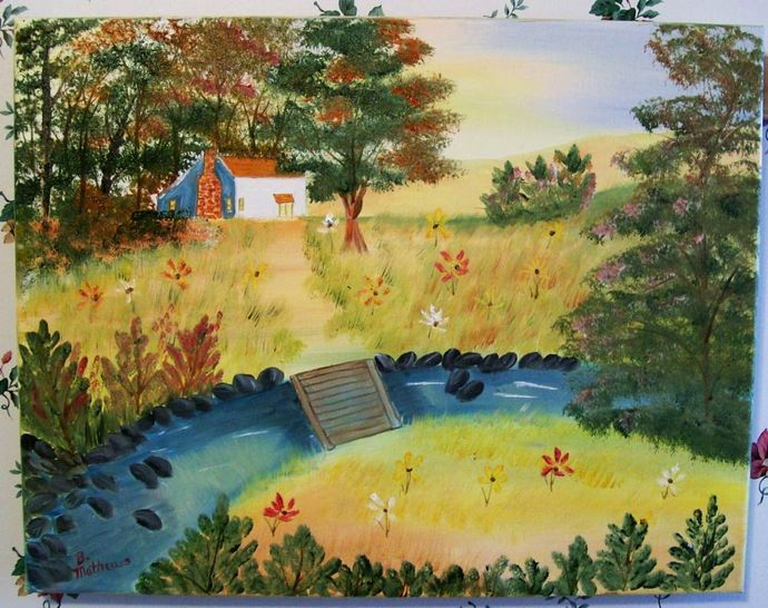 "Oil Painting, Original Painting, 14x18 Oil Painting, Landscape Painting, ""Cabin"