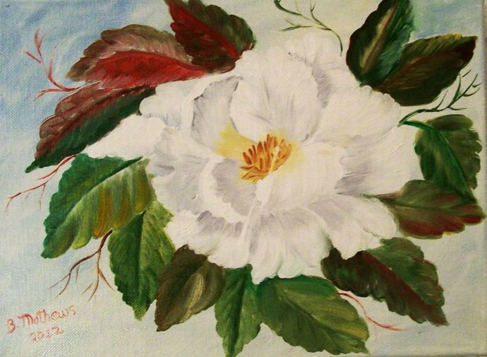 """Oil Painting, Originsl Oil Painting, Floral Painting, 9x12 Painting, """"Magnolia"""