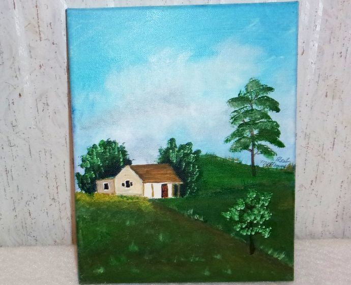 """il Painting, Original Painting, 8x10 Oil Painting, Landscape Painting, """"Home"""