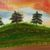 """Landscape Oil Painting, Original Painting, 18x18"""" Painting, """"3 Trees on a Hill"""","""