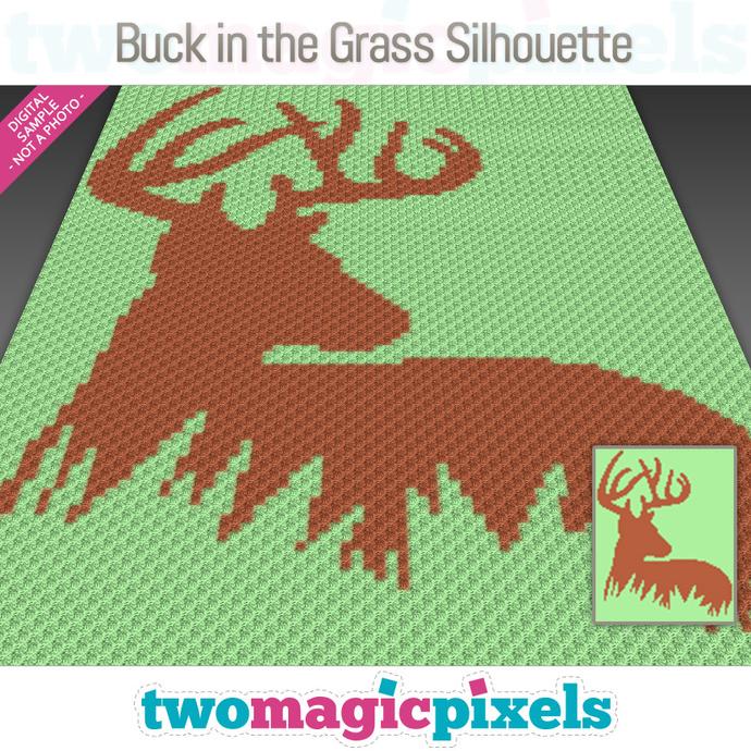 Buck in the Grass Silhouette crochet graph (C2C, Mini C2C, SC, HDC, DC, TSS),