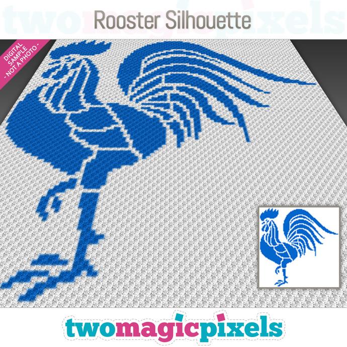 Rooster Silhouette crochet graph (C2C, Mini C2C, SC, HDC, DC, TSS), cross