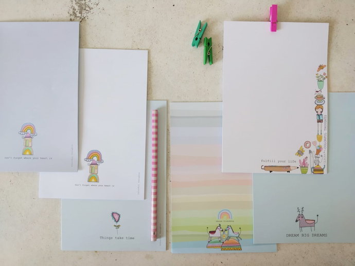A pack of stationery paper - 60 pages-  6 different illustrations