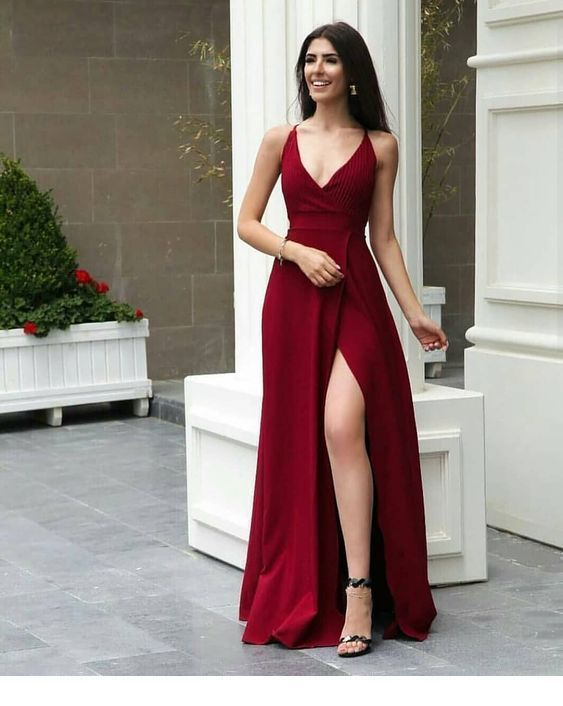 Red Prom Dress , V Neck Prom Dress With Side Slit