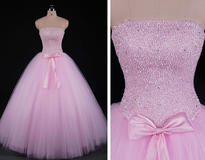 Gorgeous Pink Puffy Sweet 16 Prom Gown, Tulle Beaded Party Dresses