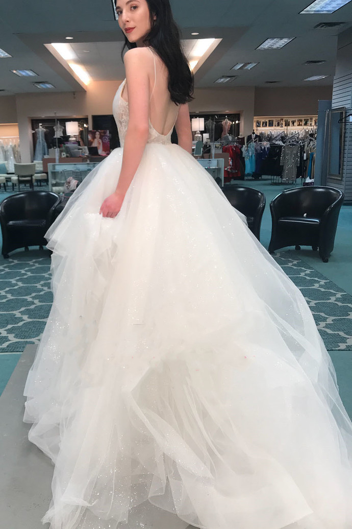 Pretty Backless Tulle Appliques Wedding Dresses with Spaghetti Straps, Sexy