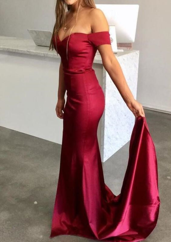 Elegant Gorgeous Dark Red Long Prom Dress, Off Shoulder Sexy Party Dress,