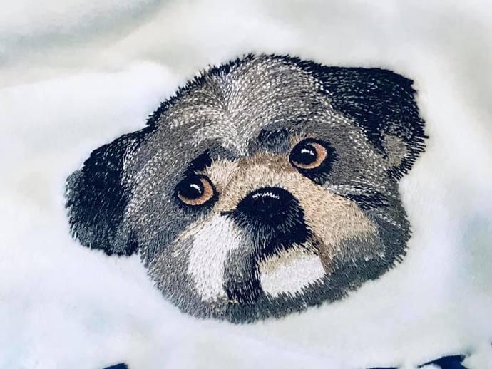 Shih Tzu-Lhasa Apso-Custom Embroidered Dog Blanket