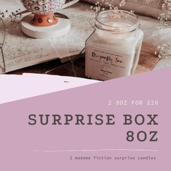 SURPRISE BOX - 2 8oz candles - Scented Soy Candle - Book Lover Gift